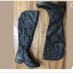 Steve Madden Knee High Leather Boots Black Size 10